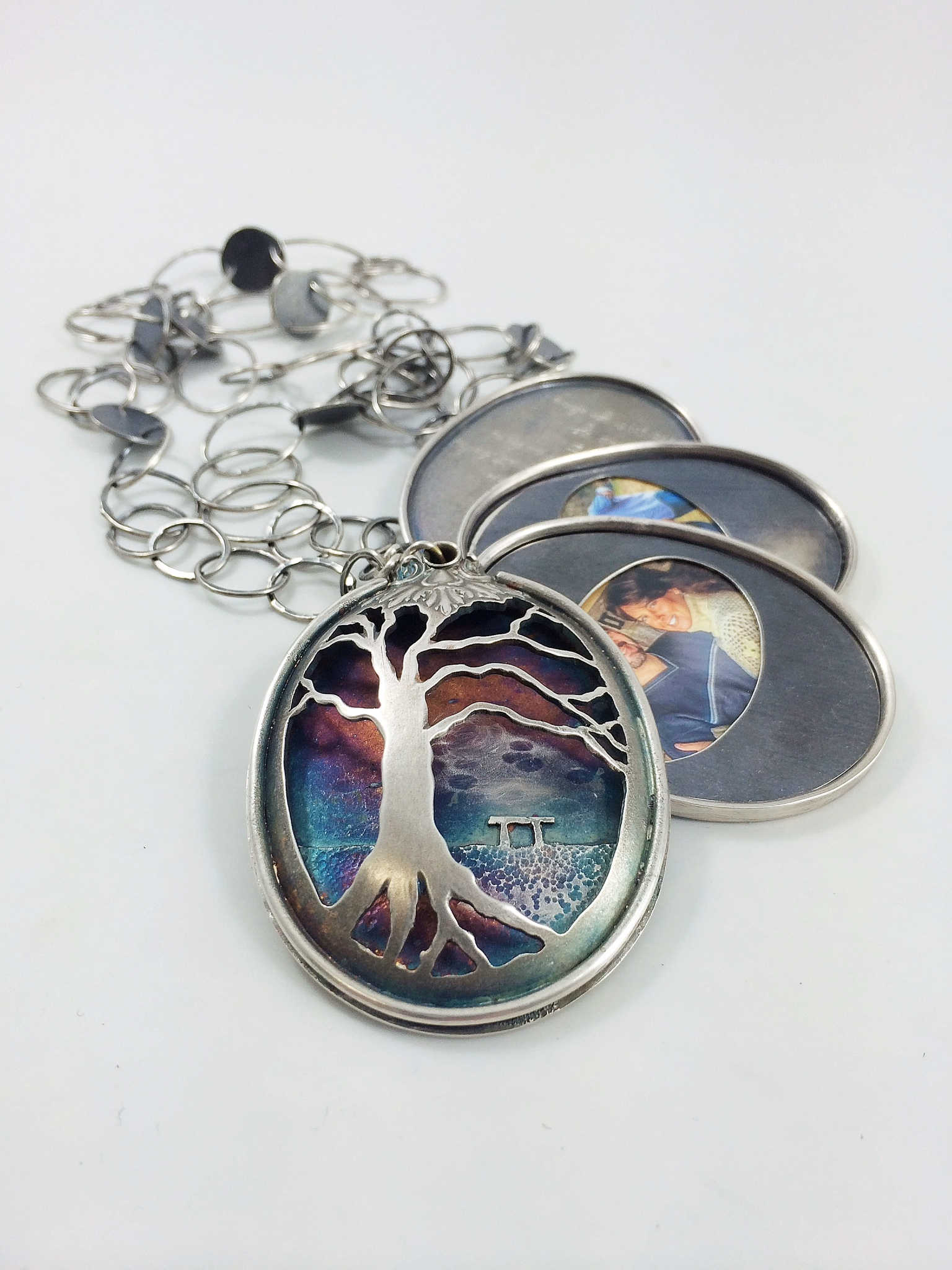 Scot & Alecia's Locket - sterling silver spoon, sterling silver, patina, family photographs