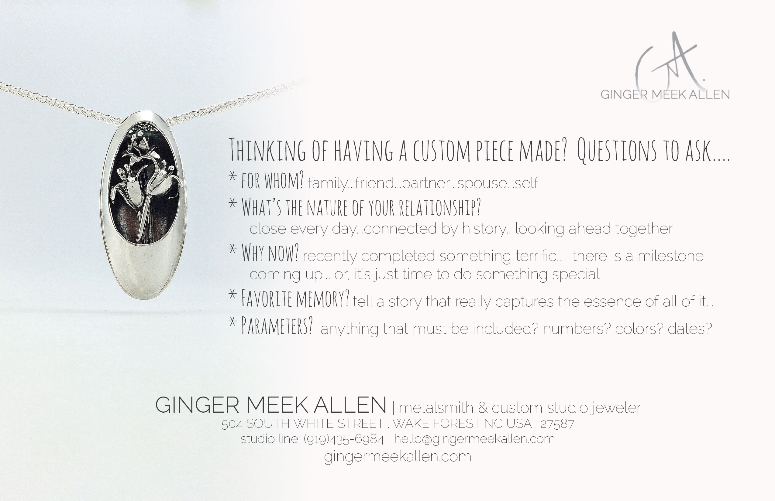 Custom jewelry archives ginger meek allen metalsmith custom five questions to ask yourself when commissioning jewelry solutioingenieria Image collections