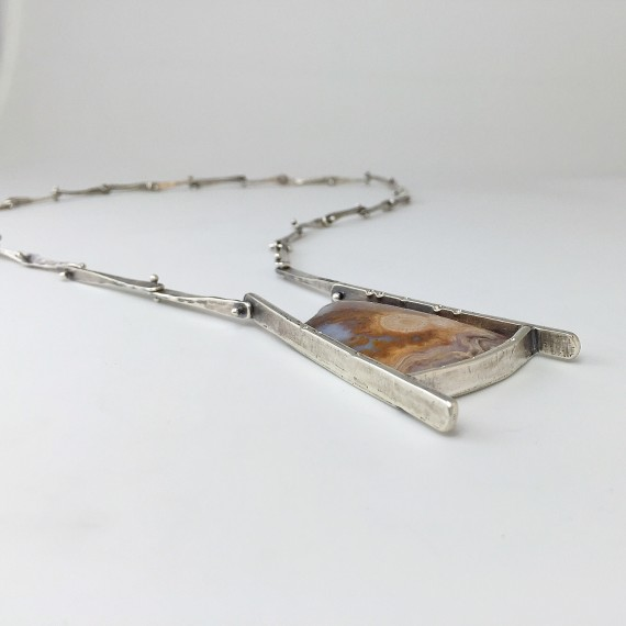 Earth Patterns Necklace with Lysite Agate from Wyoming, sterling silver, patina