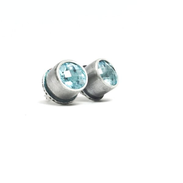 Fancy Studs with Blue Topaz
