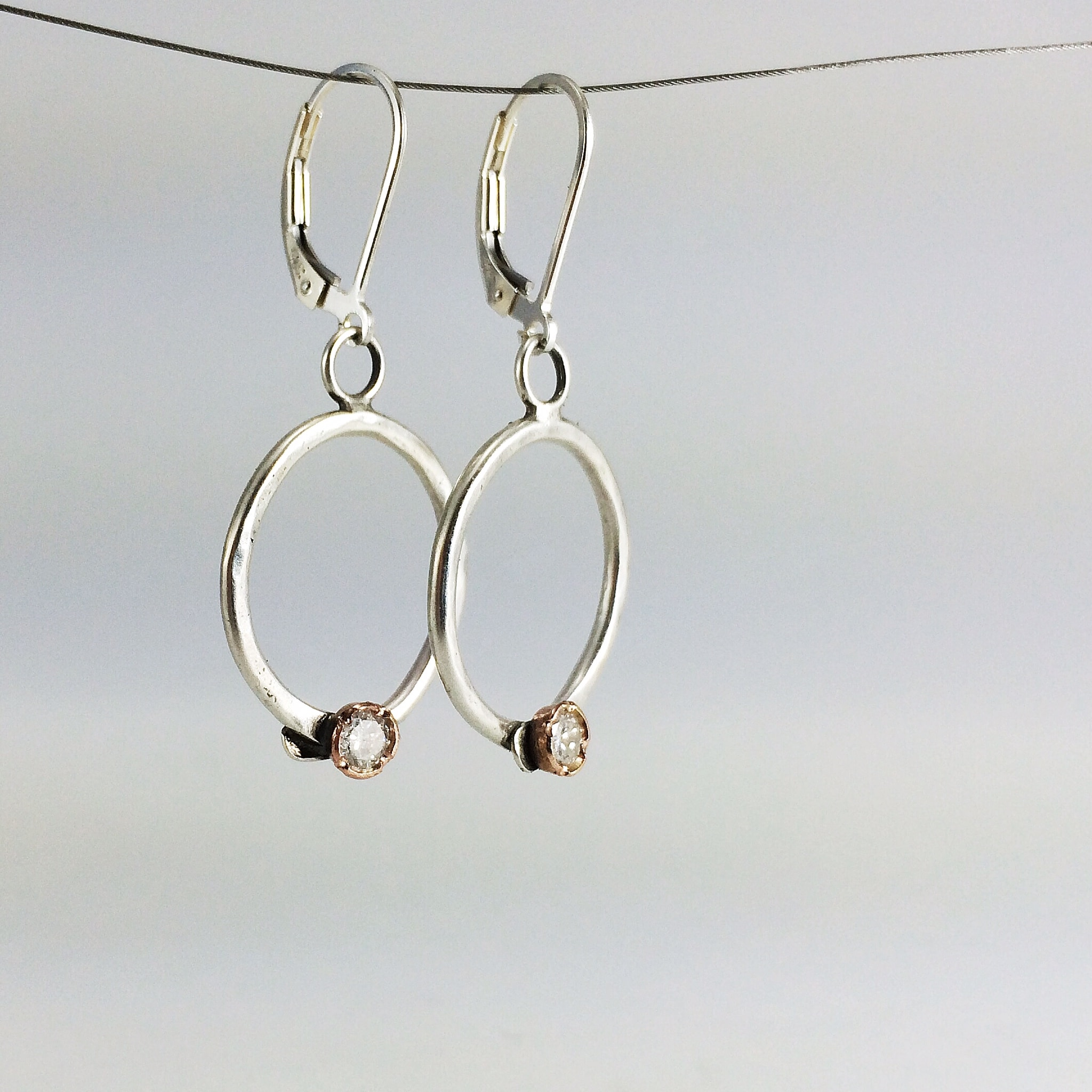 everyday jewelry silver product with sterling flip dangle textured loop oxidized classic earrings