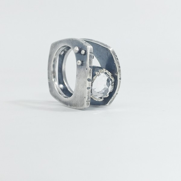 Balance Ring with White Topaz